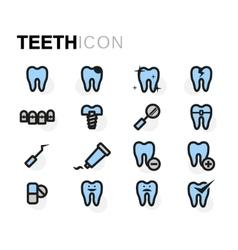 flat teeth icons set vector image