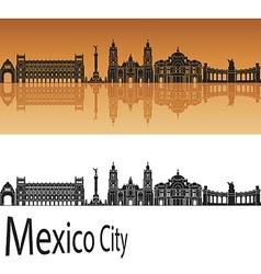 Mexico City V2 skyline in orange vector image