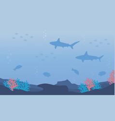 Nature underwater design flat vector