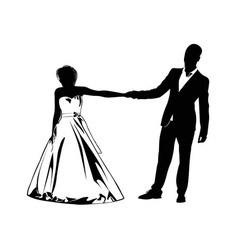 silhouettes of the bride and groom holding each vector image