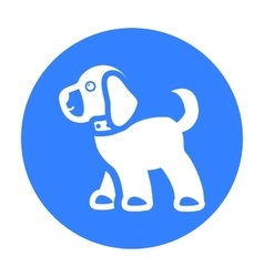 Walking the dog icon in black style for web vector image