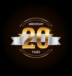 20 years anniversary celebration logotype golden vector image