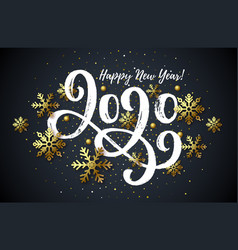 2020 hand drawn lettering new year card vector