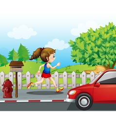 A girl jogging in street vector