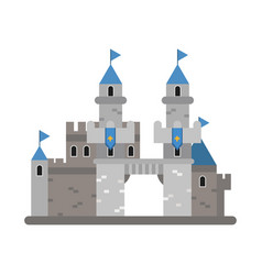 ancient castle with blue flags medieval vector image
