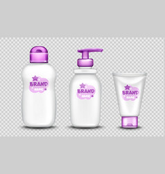Baby cosmetics package cute design set realistic vector