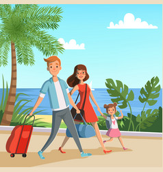 Background with happy family walking vector