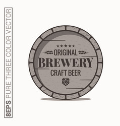 Beer barrel logo brewery craft beer label on vector