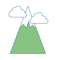 Big mountains with clouds vector