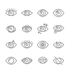 Black pictogram of eyesight or looking eye line vector