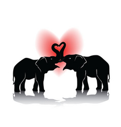 black silhouette of kissing elephants vector image