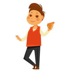 boy eating school lunch sandwich flat vector image
