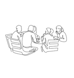 Business team meeting continuous line drawing vector