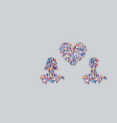 businesspeople crowd gathering in couple with love vector image