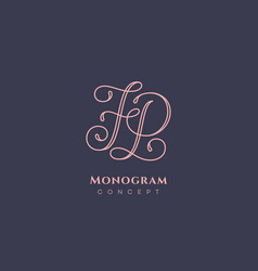 calligraphic monogram fp vector image