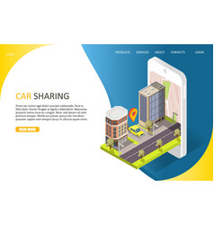 Car sharing service landing page website vector