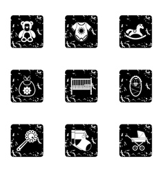 Child icons set grunge style vector