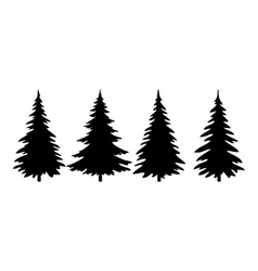 Christmas trees pictogram set vector