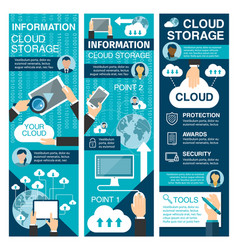 cloud storage flat banner for network technology vector image