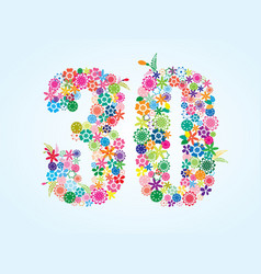 Colorful floral 30 number design isolated on vector