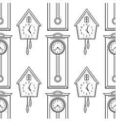 cuckoo clock and grandfather clock flat linear vector image