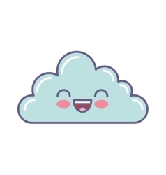 Cute cloud kawaii face vector