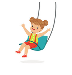 Cute little girl swinging on a swing kid have a vector