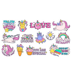 cute slogan patches time to be unicorn shine vector image