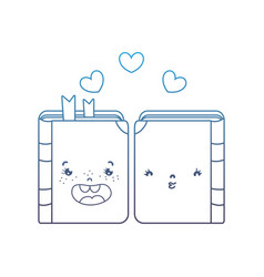 Degraded line kawaii couple book together with vector