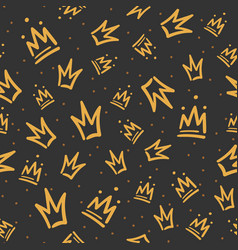 doodle crowns pattern hand drawn luxury crown vector image