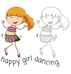 Doodle girl character dancing vector