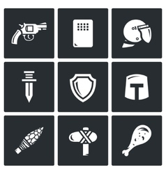 evolution of weapons icons set vector image