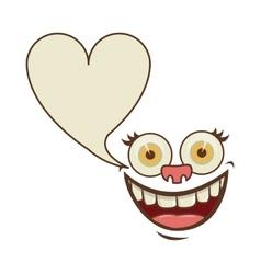 Face cartoon gesture with dialog heart shape box vector