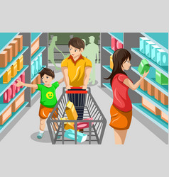 Family shopping grocery vector