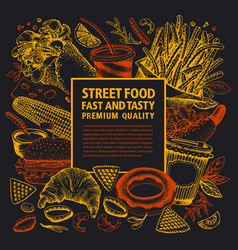 fast food hand drawn street vector image