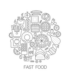 fast food in circle - concept line vector image