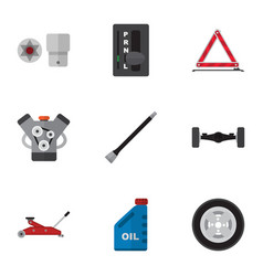 Flat icon auto set of pipeline petrol suspension vector
