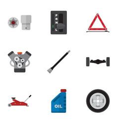 Flat icon auto set of pipeline petrol suspension vector