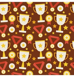 Flat Seamless Pattern Sport Competition Trophy vector image