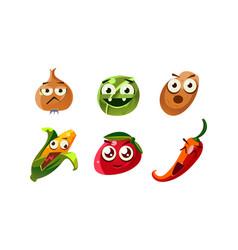flat set of emotional vegetables funny vector image