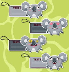 Four cute cartoon Koalas stickers vector image