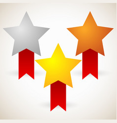 gold silver bronze stars with red ribbons vector image