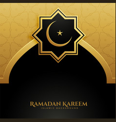 Golden mosque door ramadan kareem background vector