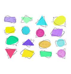 Grunge doodle style sketch colored frames vector