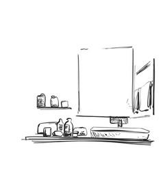 Hand drawn bathroom interior mirror washbasin vector