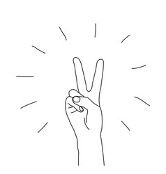 Hand victory gesture sign symbol isolated on white vector