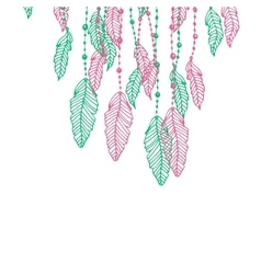 Hanging pink and turquoise or blue stylized doodle vector image
