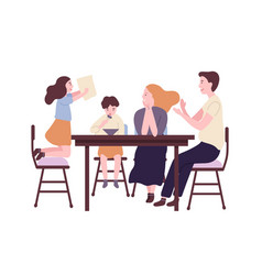 happy family sitting at dining table and having vector image