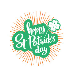 happy st patrick day banner with lettering vector image