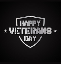 happy veterans day concept background with shield vector image